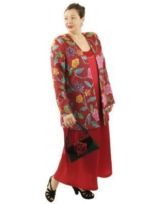 Plus Size Special Occasion Jacket Handpainted Sequins Silk Red Turquoise Size 14/16 on Sale $500 xoPeg SHOP NOW: Unique jackets for women Sizes 14 - 36, mother of the bride, special occasion, artwear, elegant and unique women's clothing,xoPeg #plussizesale #PeggyLutzPlus #PlusSize #style #plussizestyle #plussizeclothing #plussizefashion #womenstyle #womanstyle #womanfashion #holidaysale #holidaystyle  #formal #eveningwear #style #couture #elegantwoman #elegantplus #uniquejackets #divastyle