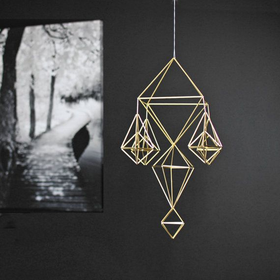 Brass Himmeli no. 8 / Modern Hanging Mobile / Geometric by HRUSKAA