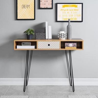 COLETTE Console vintage décor chêne et imprimé + pieds métal noir laqué - L 100 x l 35 cm - Achat / Vente console COLETTE Console L 100 cm - Cdiscount