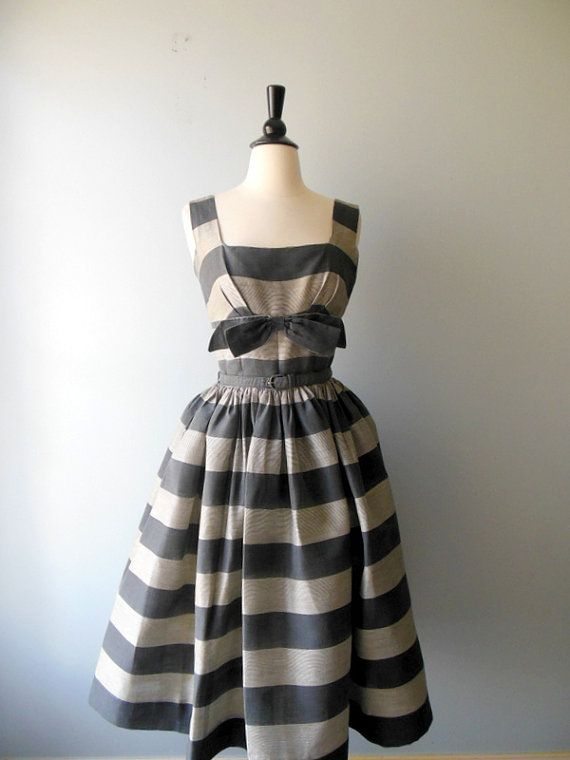 A Girl In Love Dress • vintage 1950s Dress • 50s Striped Sundress on Etsy, Sold