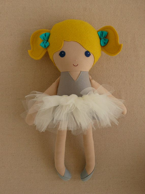 Fabric Doll Rag Doll Blond Girl in Sparkly Gray Top by rovingovine, $42.00