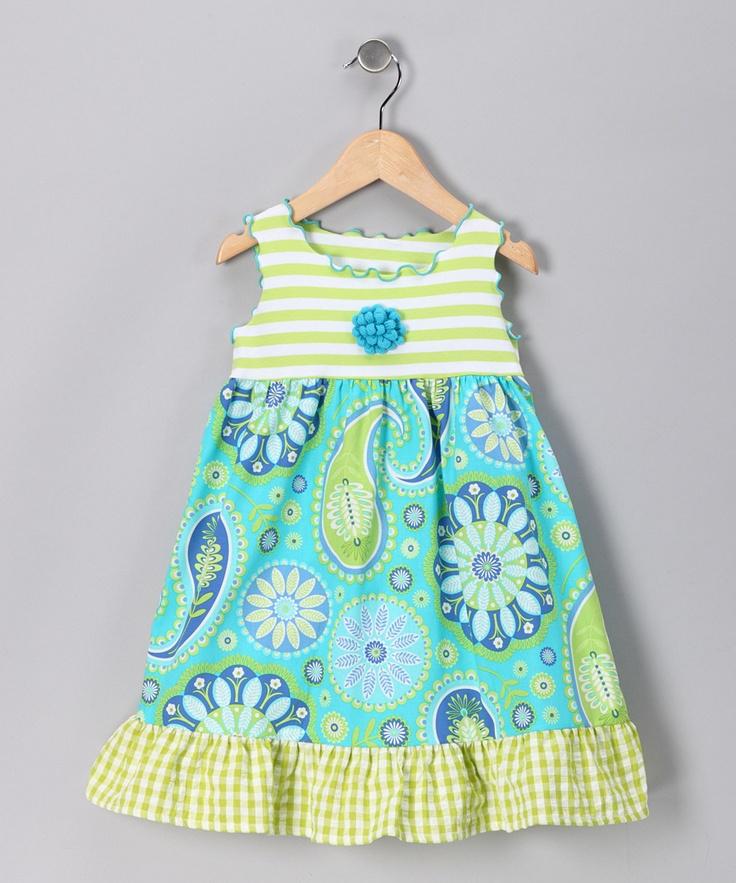 Aqua Paisley Flower Babydoll Dress - Toddler & Girls  #zulily