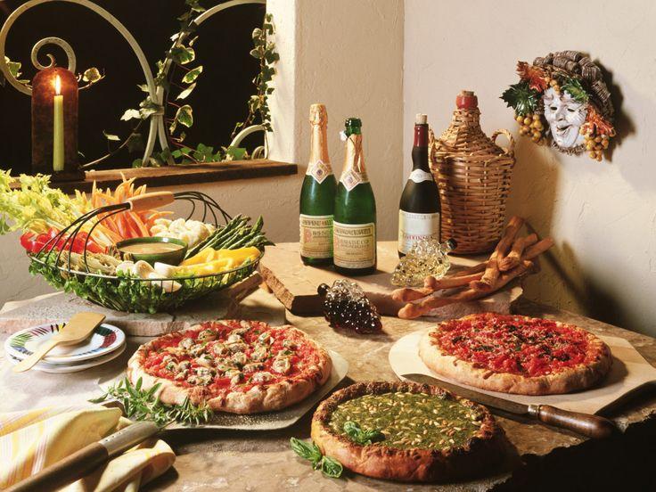 table spread of Italian Food
