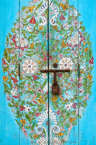 Painted details on a Moroccan door.