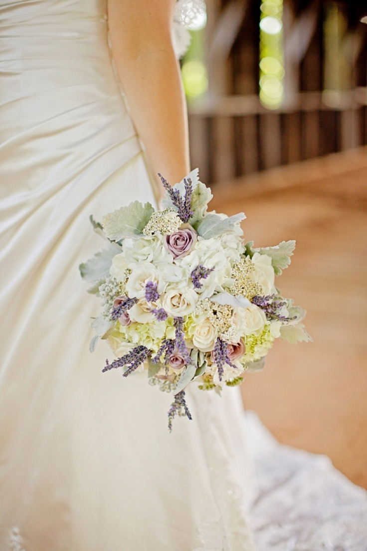 Bouquet with sprigs of lavender. Perhaps With peach roses as well as white.
