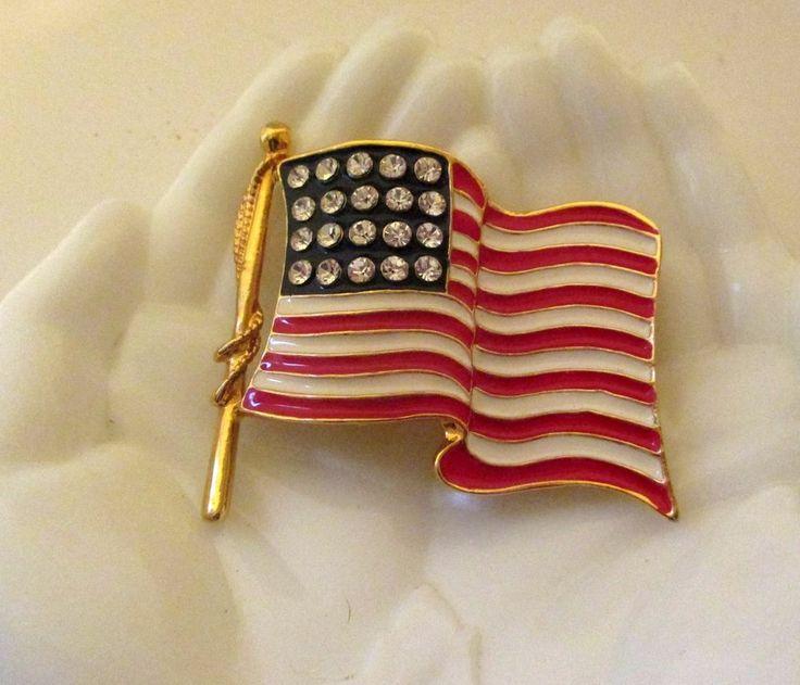 Patriotic USA American Flag Pin Rhinestones Enamel HUGE
