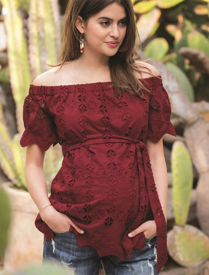 11cd52bd3a924 A Pea in the Pod Embroidered Off The Shoulder Maternity Top ...