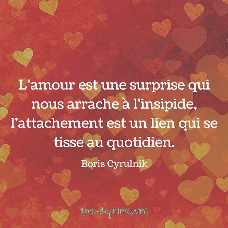 L'amour est une surprise qui nous arrache à l'insipide,l'attachement est un lien qui se tisse au quotidien.