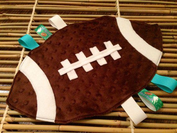 Football Minky Taggie Lovey Blanket by pickledginger1 on Etsy