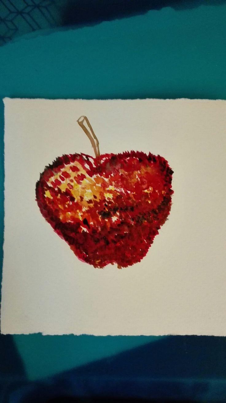 Æble malet med prikker(akvarel)