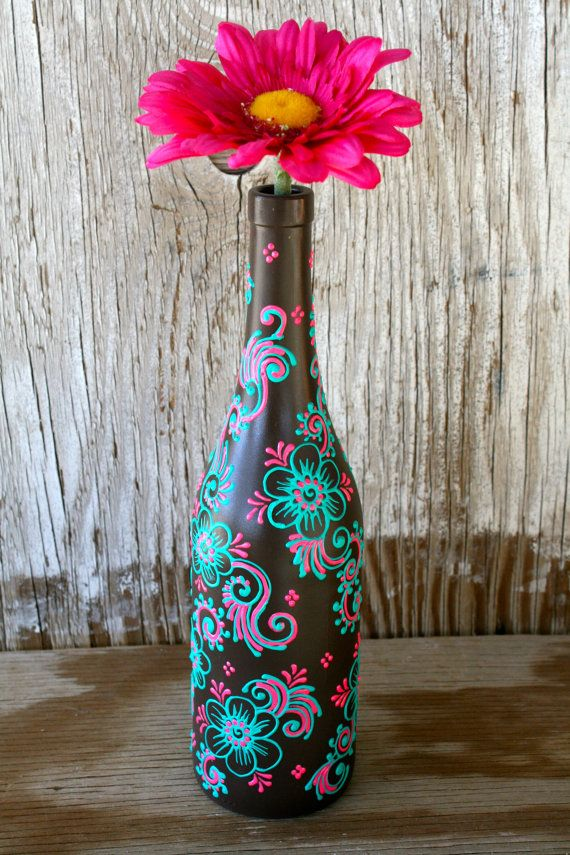 Hand Painted Wine bottle Vase, Up Cycled, Chocolate Brown, Bright Pink and Mint Green, Ready to ship