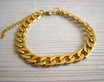 Mens Gold Bracelet Mens Bracelet gold chain by baronykajd