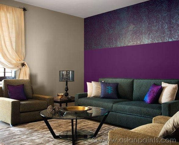 Beautiful Living Room With Purple Walls And Neutral Grey Mauve In Furniture For Balance Metallic Object Silver Or Dull Gold Add A Spark