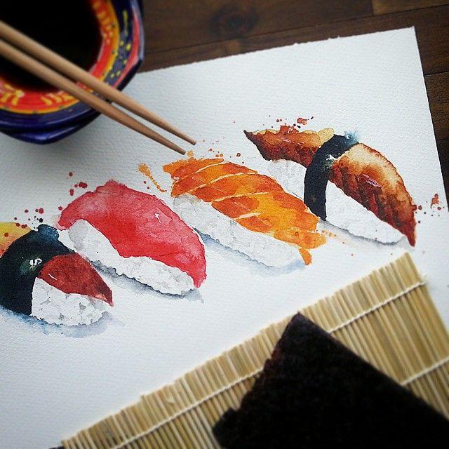 watercolor japan food - Google 搜索