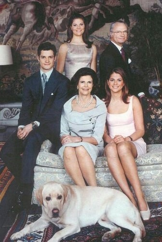 Swedish Royal Family. It's so cute that their dog is in the picture too.