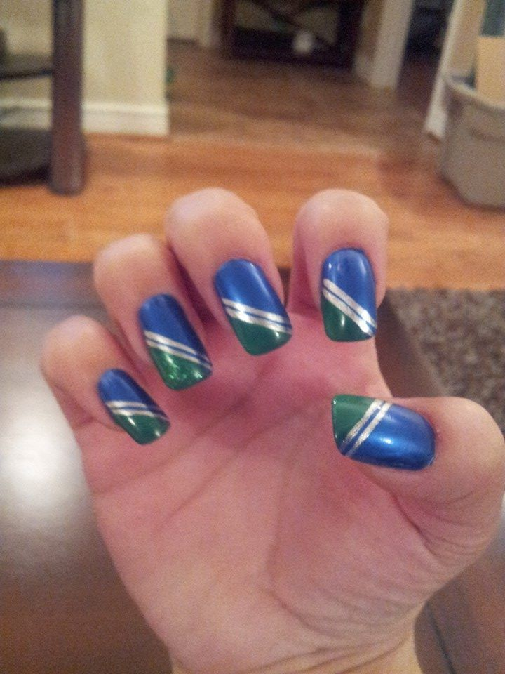 My awesome Seahawks nails. I'm read for Saturday!!! Go Hawks!! - Jessica Day