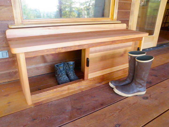 Bench With Storage For Front Porch   A Great Idea   Shoes Etc In One Side