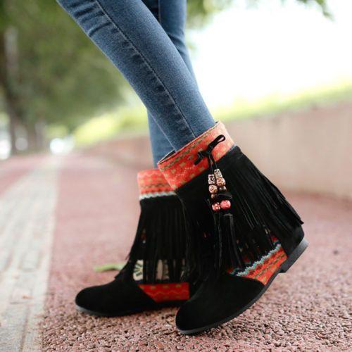 La-nueva-mujer-Otono-Plana-Botines-etnicas-tassle-Botas-ocio-Oculto-Tacones-Zapatos