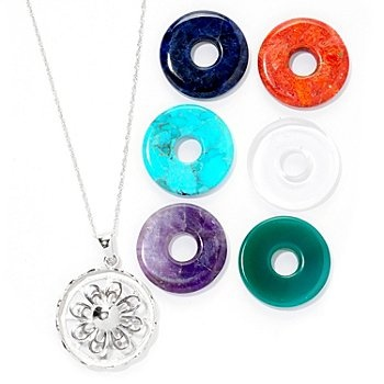 "Gem Insider 18"" Sterling Silver Floral Pendant w/ Interchangeable Gemstones & Box 74.16 Shop NBC"