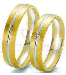 Βέρες γάμου δίχρωμες με διαμάντι Breuning 6235-6236