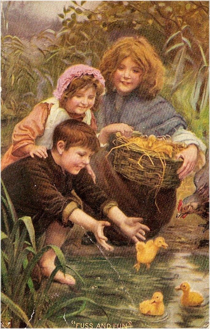 kids and baby ducks