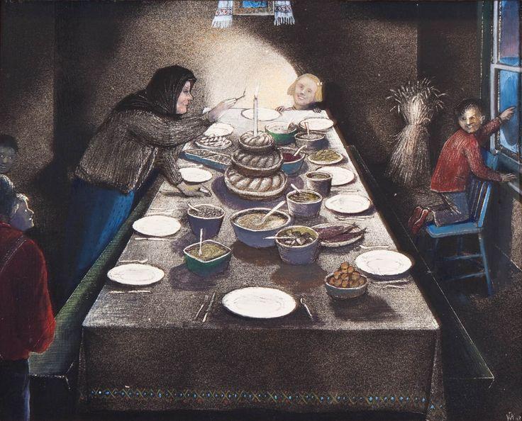 William Kurelek, 'Ukrainian Christmas Eve' at Mayberry Fine Art