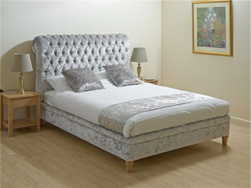 CRUSHED-VELVET-BED-FRAME-DOUBLE-4ft6-BEDSTEAD-GREY-VELVET-BLACK-VELVET