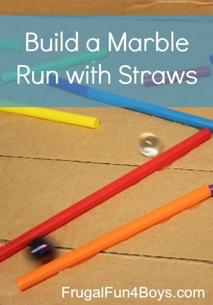 Build a marble run with straws and a cardboard box - a great activity for a rainy day!