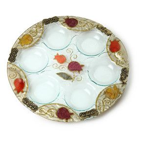 Glass Passover Seder Plate with Rich Pomegranate Motif