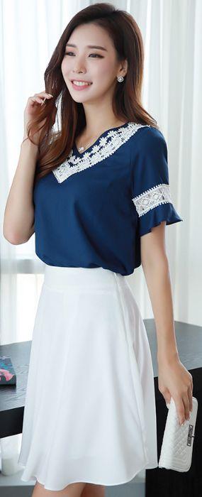StyleOnme_Simple Flared Skirt #white #flared #feminine #koreanfashion #kstyle #kfashion #skirt #summerlook