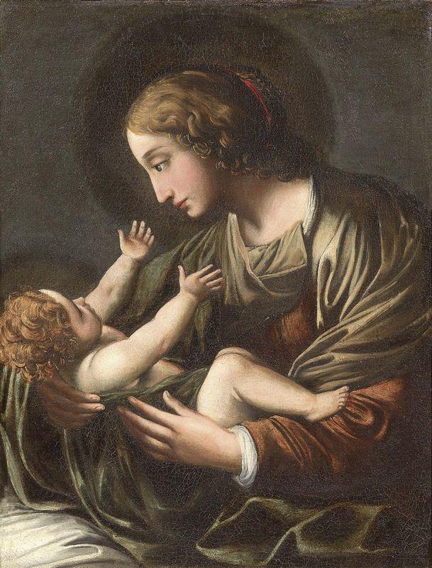 Alessandro Tiarini - Madonna col Bambino - Olio su tela - cm. 83x63