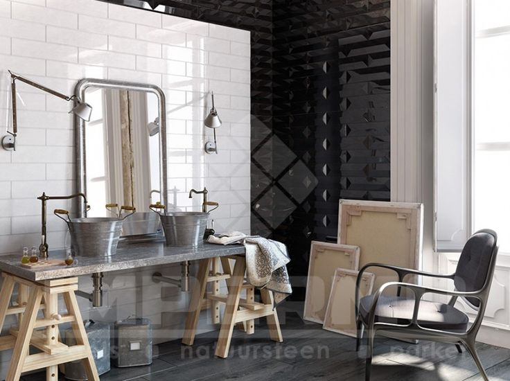 219 best impermo badkamer images on pinterest wands bathroom ideas and bathroom inspiration - Faience metro wit ...
