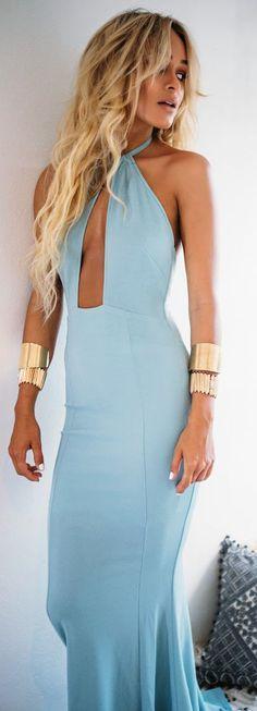 Baby Blue Halter Maxi Inspiration Dress by Sabo Skirt