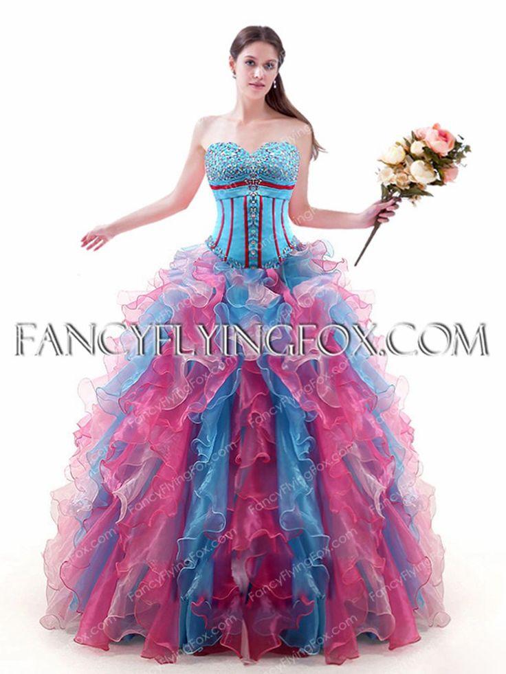 Fancyflyingfox Offers High Quality Colorful Basque Waist Blue And Pink Vestidos De Quinceañera Dress