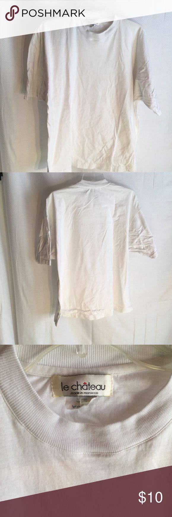 Ladies 100 cotton oversized white t shirt Ladies 100 cotton oversized white t shirt. Sized as one size but very generous in fit and could be used over leggings.perfect condition le chateau Tops Tees - Short Sleeve