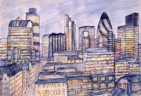 Drawing capturing the City of London. Materials: Winsor and Newton permanent ink pens and acrylics on high quality, heavy weight, French Paper made by Clairfontain. Size: 70 × 55 cm One of a kind Artwork Sold Unframed Signed on the front FREE SHIPPING WORLDWIDE Make an Offer on this Artwork