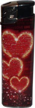 RZOnlinehandel - LUX Elektronik Feuerzeug Nachfüllbar Love Motiv - 3 Herzen