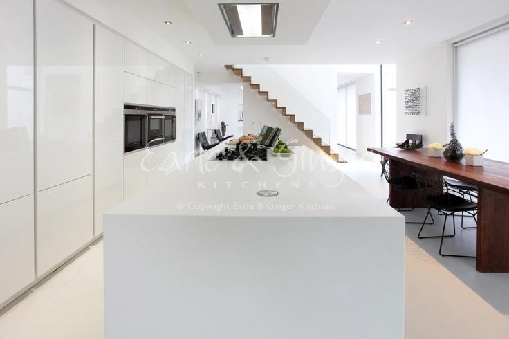a contemporary family kitchen. white high gloss, designer white