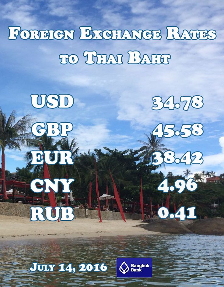 Currency exchange rate in Thailand. July 14, 2016. Buying rate in Bangkok Bank. USD to THB. GBP to THB. EUR to THB. CNY to THB. RUB to THB. #SamuiDays #Currency #Exchange #Thailand