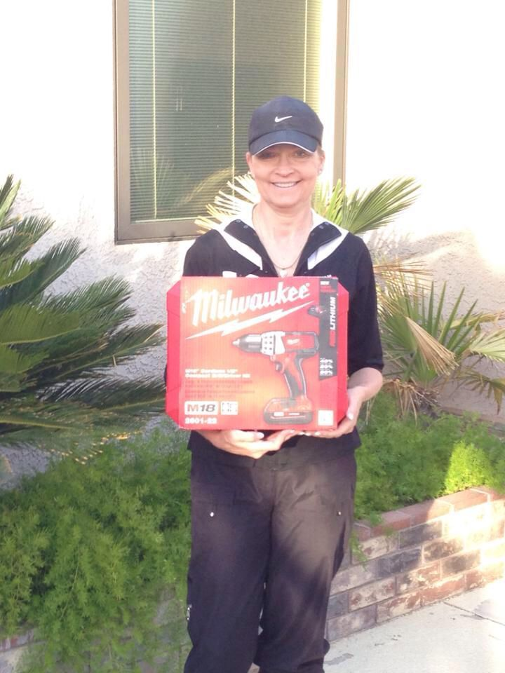 The winner of the Milwaukee Drill set donated by The Home Depot for the MDA fundraising golf tournament!!