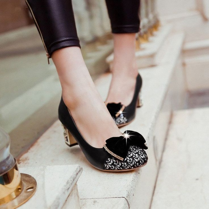 Rhinestone Bow Pumps High Heels Sequined Shoes Woman