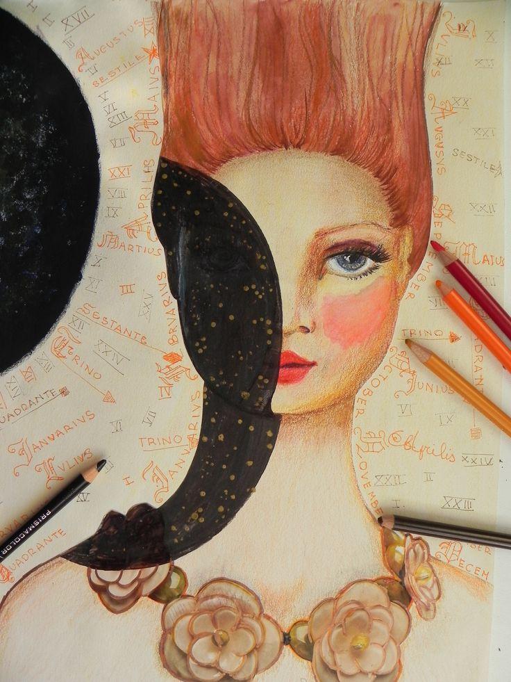 colored pencils, collage