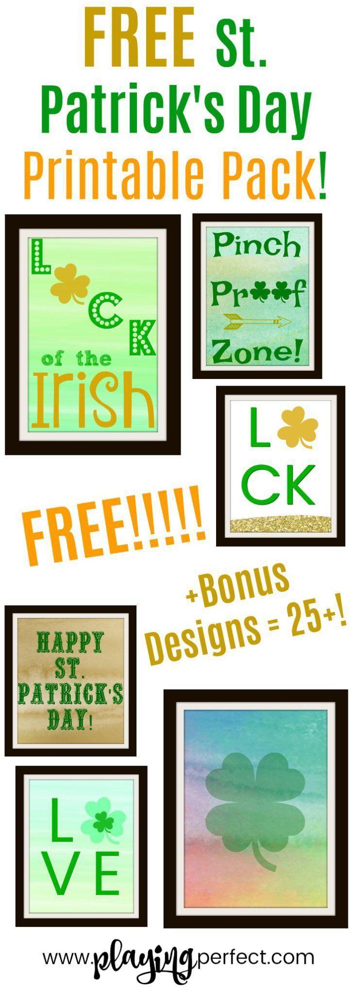 Happy St. Patrick's Day! Here are tons of great St. Patrick's Day free printables! More than 25 St. Patrick's Day printables and also check out the list of St. Patrick's Day shirts too! Grab your FREE St. Patrick's Day printable pack! | playingperfect.com | #StPatricksDay #playingperfect #progressnotperfection #wallart #stpaddysday #stpattysday #irish #ireland #march #shamrocks #happystpatricksday #freeprintable #freeprintables #printables #printablepack #freewallart