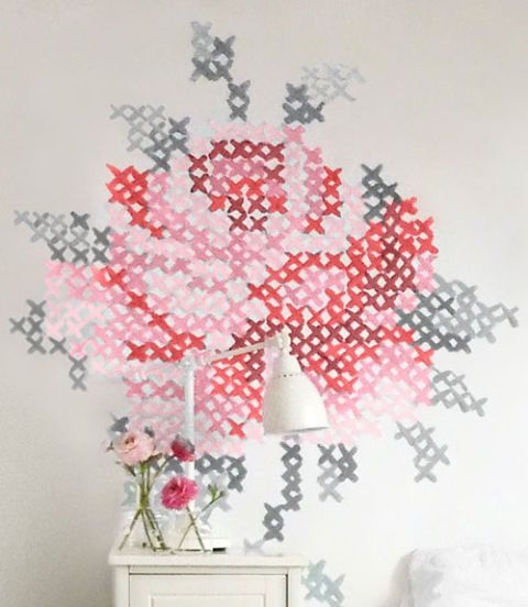 Swap a needle and thread for a brush and paint to re-create this oversize riff on an embroidered rose, by Dutch artist Eline Pellinkhof. Don't worry: You won't have to freehand it. Get the tutorial at Country Living »