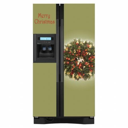 This holiday wreath themed refrigerator cover will add a touch of the winter holidays to your home. #Appliance Art refrigerator covers are easy to install and ea...