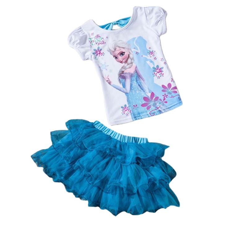 6.12$  Know more - Retail 2017 New Summer Kids Girls Clothing Set Elsa t shirt + Dress Cotton Baby Girls Suits Set fashion Children Girl Clothes   #magazineonlinewebsite