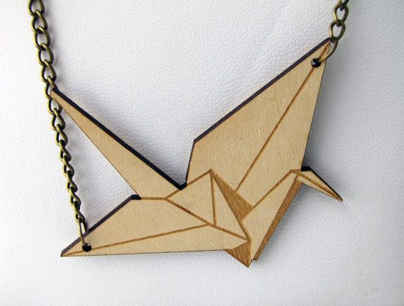 Origami crane and birds Necklace Laser cut wood by indomina