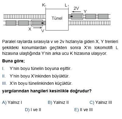 Hareket Soru Çözümü - Fizik. Net. Tr X'in boyu lx, Y'nin boyu ly, tünelin boyu da a olsun. İşlem incelendiğinde tünelin boyu y'nin boyuna eşit olduğu görülür. X'in boyuyla ilgili yorum yapılmaz çünkü denklemde x in boyuyla ilgili ifade yok.