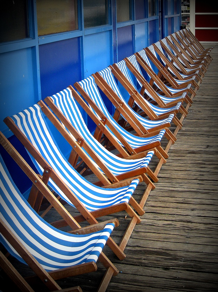Deckchairs on the pier in Blackpool. South Pier, originally known as Victoria Pier, is one of three piers in Blackpool, England. Located on South Promenade on the South Shore, the pier contains a number of amusement and adrenalin rides. It opens each year from March to November and is owned by Six Piers Limited.