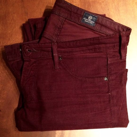 AG Jeans - Velvet Corduroy Legging Beautiful burgundy/red wine colored velvet corduroy legging jeans by AG Jeans (for Scoop). Perfect for the holidays. They are light weight and super soft. Very skinny fit. Preloved in EXCELLENT condition. AG Adriano Goldschmied Jeans Skinny